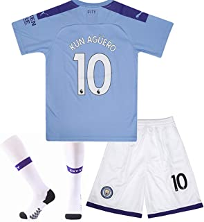 #10 KUN Aguero Soccer Jersey Manchester City Home with Socks and Shorts 2019-2020 Season Kids/Youth Blue