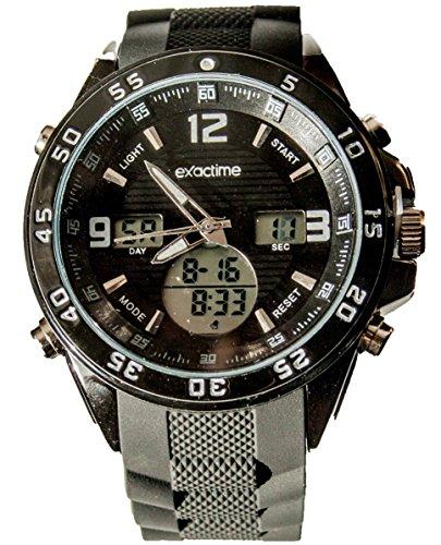EXACTIME 11925 Negro - Reloj Deportivo Resistente al Agua Unisex - Análogo/Digital