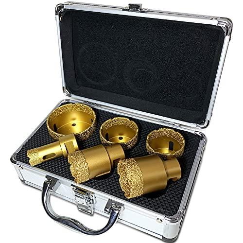 BotaBay Juego de brocas de diamante (6 piezas, 20, 35, 40, 45, 50, 68 mm, con maletín, revestimiento de diamante de 13 mm, para granito, gres porcelánico, azulejos, M14, brocas de diamante en seco