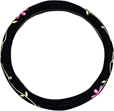 Mayco Bell 2016 Automotive Women Embroidery Cute Car Steering Wheel Cover (Twin Flowers)