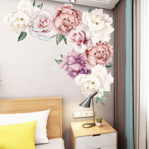 Peony Flowers Wall Decals Blossom Floral Wall Stickers, Delicate Purple Flower Wall Posters Peel and Stick Wallpaper Removable Room Decor for Bedroom Living Room