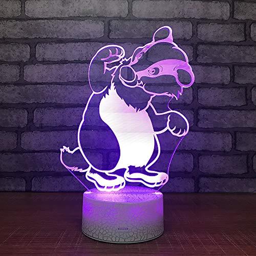 3D Lampe Acrylique LED Night Light 7 Colors Animal Ours USB Capteur tactile Lumière Enfants Mignon Nuit Lampe Chambre Lumière Enfants cadeaux,Télécommande et Tactile