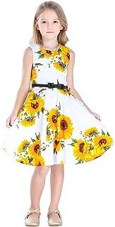 Bow Dream Little Girls Vintage Floral Swing Dresses