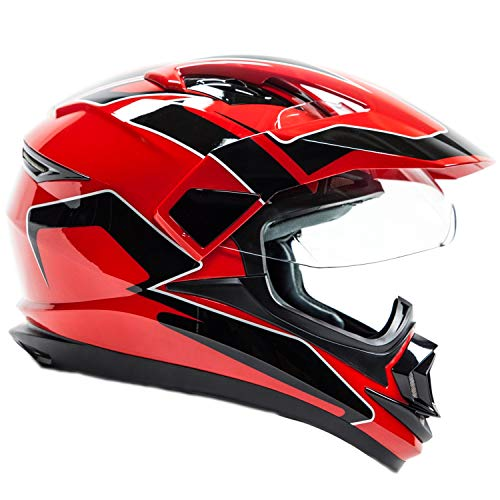 Typhoon XP14 Full Face Dual Sport Helmet Off Road UTV ATV Motorcycle Enduro Red - Small
