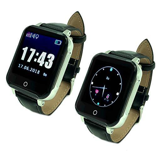 GeepMe GP3 Smartwatch (schwarz-Silber) - GPS Seniorenuhr, wasserabweisend(IP67),Tracking, Geofence, SOS Notruf, Blutdruck-/Pulsmessung, Telefon, dt. kostenlose APP/dt. Service, (OHNE Abhörfunktion)