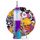 """PILOTDIARY Reusable Honeycomb Straw with Water Filter Kit Nonstick Wax Mat & Cleaning Tool & Silicone Jar 7"""" Gray/Purple/Blue"""