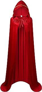 GRACIN Adult Costume Hooded Cloak, Unisex Full Length Velvet Cape for Halloween Party