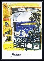 ポスター パブロ ピカソ The Pigeons 額装品 ウッドハイグレードフレーム(ネイビー)