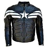 LEATHERAY Men's Fashion Motorbike Captain America Real Leather Jacket Black S