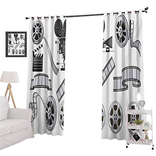 nooweihomeMovie Theater Best Home Fashion Thermal Insulated Blackout Curtains Movie Industry Themed Greyscale Illustration of Projector Film Slate and Reel Household Darkening Curtains W84 x L84 Gr