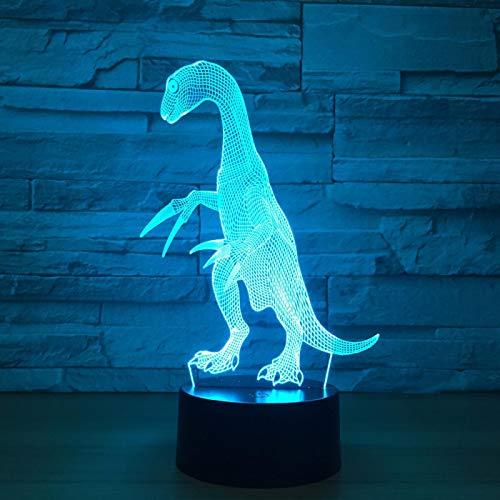 3D Dinosaurio Animal Luz Nocturna Infantil, Juguetes De Regalo De Cumpleaños Y Festival Para Niños, 16 Colores Cambio Tactil Lámpara De Noche De Ilusión Óptica Led Dormitorio Decoración