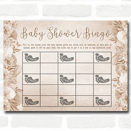 Bloemen Baby Douche Spelletjes Bingo Kaarten 16 Game Cards