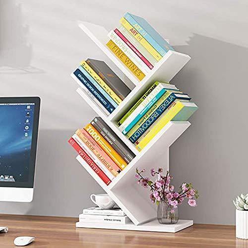 LLDKA Kleines Bücherregal, freistehendes Regal, Student Fashion Hohold Schreibtisch-Aufbewahrung, platzsparend,Weiß,5floors