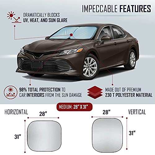 EcoNour Foldable 2-Piece Sun Shade for Car Windshield | Total Sun Heat and UV Protection with Automotive Interior Sun Protection | Window Sunshade with Complete Interior Protection (Medium 28