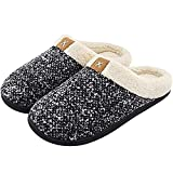 XYIYI Womens Cozy Memory Foam Slippers Mens Fuzzy Plush Fleece Lined House Shoes with Anti-Skid Rubber Sole (Black White)