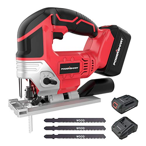 POWERSMART 20V Cordless Jig Saw with LED Light, 2300 SMP, 6.6LB Lightweight and Tool-free blade replace, 3 Blades, Battery and Charger Included