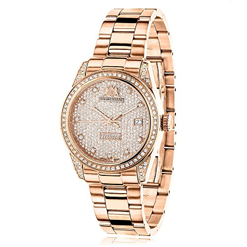 Rose Gold Plated Real Diamond Watch for Women 1.5ct LUXURMAN Tribeca w Extra Leather Bands Swiss Mvt
