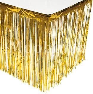Moohome Foil Fringe Gold Table Skirt 9ft. x 29inch Tinsel Party Table Skirt 108
