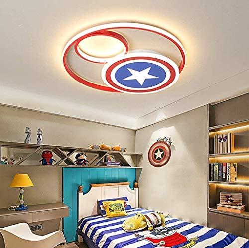 ZHANGL Lámpara de techo moderna creativa Control remoto regulable Lámpara de techo LED LED Dormitorio Habitación Sala de estar Comedor Girl Room Iluminación Capitán América Lámpara de pared Round Hier