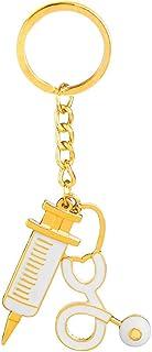 Syringe Stethoscope Shape Alloy Drip Keychain Key Ring