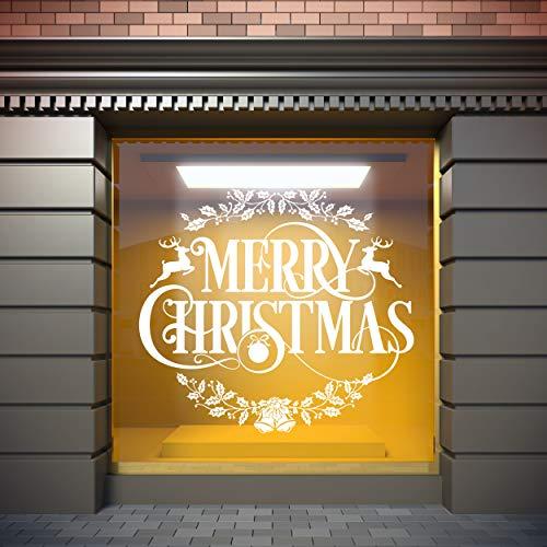 Vinilo Para Escaparates Decoración Navidad Merry christmas ciervos | 100 cm de largo x 100 cm de alto | Vinilo Adhesivo | Decora tu escaparate | Pegatinas Adhesivas Escaparate | Vinilos para negocios