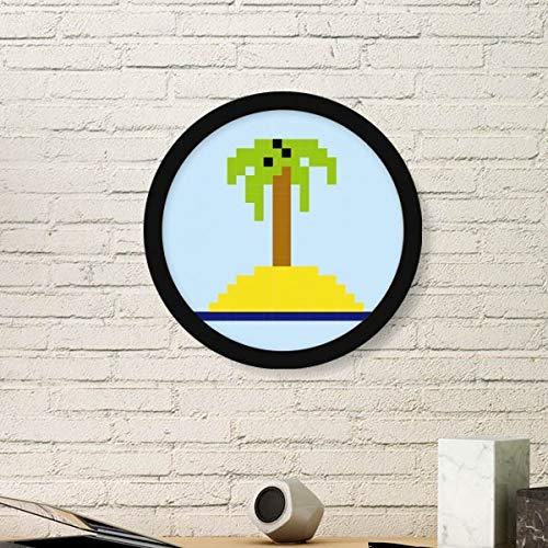 DIYthinker Verano Vela del árbol de Coco Pixel Redondo de Fotos Marco de Impresiones del Arte de Las Pinturas Pared del hogar de la Etiqueta del Regalo Pequeña Negro