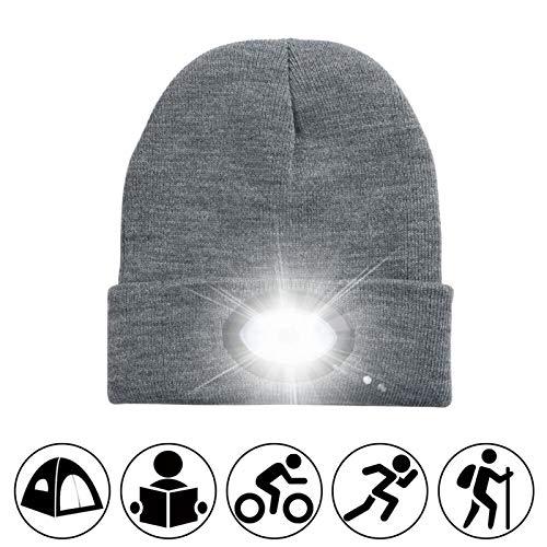 Con sombreros de lámpara, Gorros de guisantes LED recargables USB, papá de los hombres, dan su regalo de invierno, dama, ella, iluminación nocturna unisexo, sombrero de luz grande, adecuado para camin