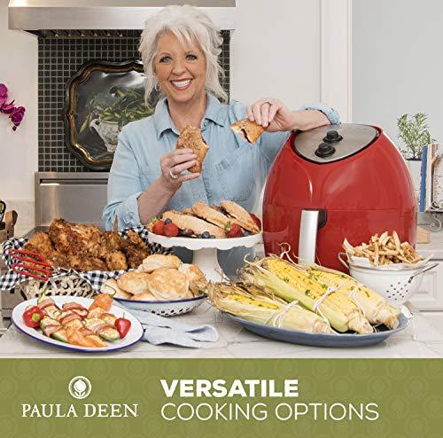Paula Deen 9.5 QT (1700 Watt) Family-Sized Air Fryer, Rapid Air Circulation System, Single Basket System, Ceramic Non-Stick Coating, Simple Knob Controls, 50 Recipes, 1-Year Warranty (Red)