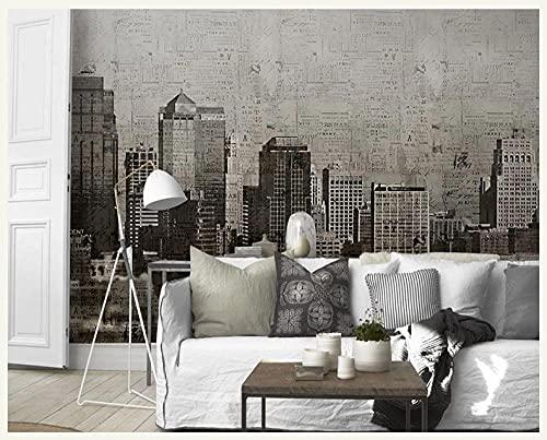 Personalizado de gran tamaño edificio retro blanco y negro mural de la ciudad 3d foto pegatina papel tapiz dormitorio fondo de cabecera-350X245cm