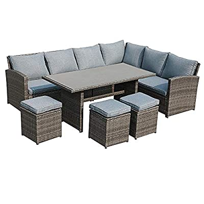 JOIVI Patio Furniture Set, 7 Pieces PE Rattan Wicker Dining Sofa Set, Outdoor Patio Furniture with Ottoman and Aluminium Table, Gray