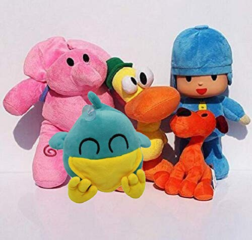 Wendin 5 Pieces Per Set Pocoyo Plush 14cm-30cm Pocoyo Sleepy Bird Loula Elly Pato Doll Stuffed Animals Soft Figure Anime (One Set)