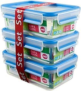 EMSA CLIP&CLOSE Lot 3 boîtes de conservation en plastique rectangulaires, 1L, 100% hermétique et hygiénique, Garantie 30 a...