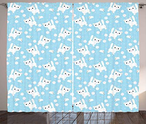 ABAKUHAUS Baby Gordijnen, Vermakelijke Kat met Garen, Woonkamer Slaapkamer Raamgordijnen 2-delige set, 280 x 260 cm, Blue Cream