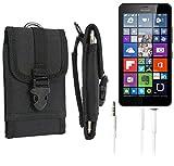 K-S-Trade Holster Schutzhülle Für Microsoft Lumia 640 XL Dual-SIM LTE Gürteltasche Handyhülle Schutz Hülle Gürtel Tasche Handy Tasche Outdoor Seitentasche Schwarz 1x + Kopfhörer