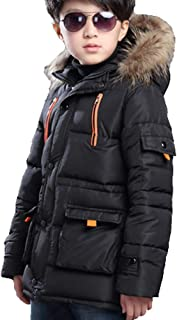 Boy Winter Coat Warm Quilted Puffer Parka Jacket with Fur Hood for Big Boys