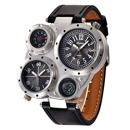 Men's Watch-Stylish Casual Multi Time Zone Backlit Unique Large Dial Thermometer Compass Quartz Leather PU Strap Watch, Best, C