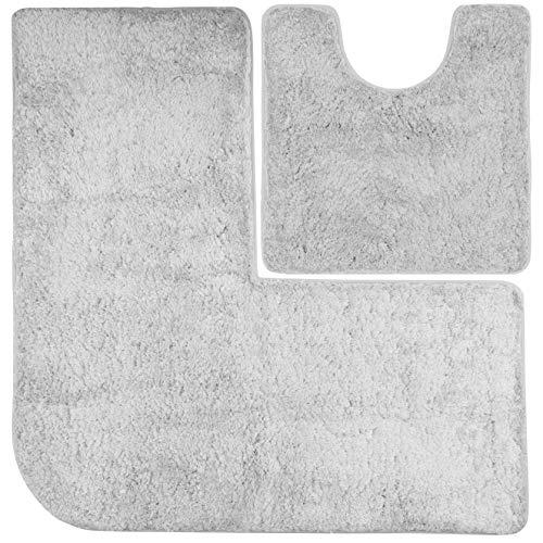 FLUFFY Badteppich-Set - Vorleger für Eckduschen und WC, Hochflor aus Mikrofaser, rutschfeste Unterseite (Grau)