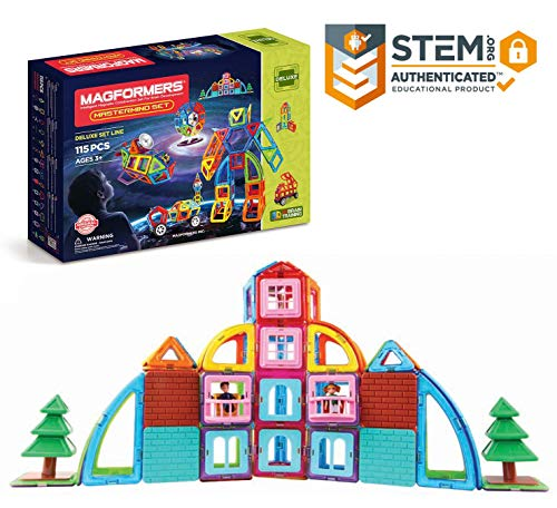 Magformers Mastermind 115 Pieces Rainbow Colors, Educational Magnetic Geometric Shapes Tiles Building STEM Toy Set Ages 3+