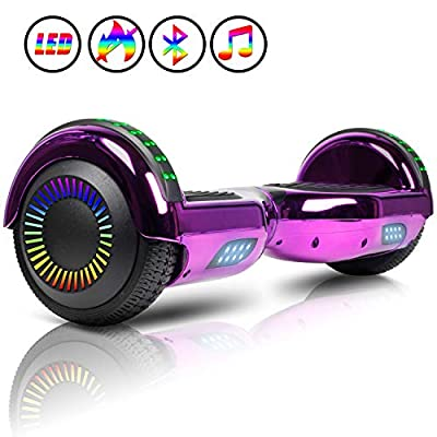 JOLEGE 6.5 Inch Balance Board, Self Balancing Electric Scooter, Skateboard Wheels with LED Light, with Bluetooth for Kids and Adults
