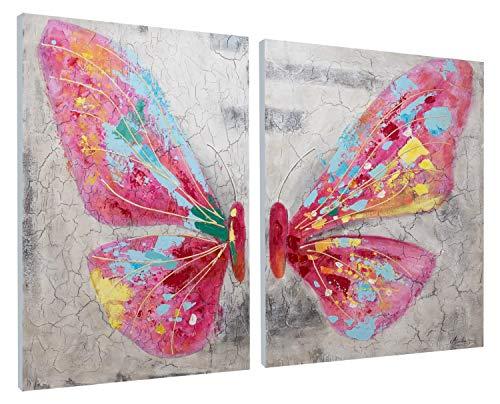 KunstLoft® Acryl Gemälde \'Zarte Schönheit\' 120x90cm   original handgemalte Leinwand Bilder XXL   Modern Schmetterling Grau Pink   Wandbild Acrylbild Moderne Kunst einteilig mit Rahmen
