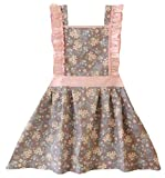 Kids Cooking Baking Apron   Toddler, Little Girls, Cute Kitchen Chef Aprons by CRB Fashion (2 to 5 Years Old, White Flowers)