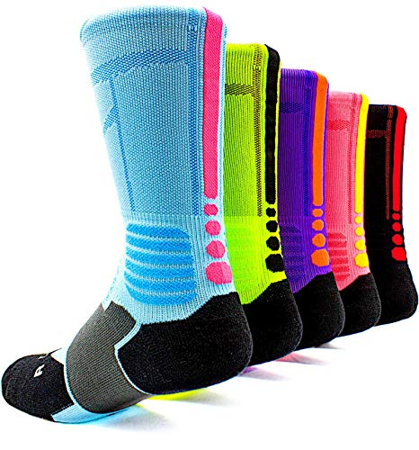 Basketball Socks 5 Pack Athletic Crew Socks Compression Sports Socks for Boy Girl Men Women,A3,Large