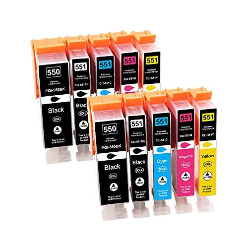 Tinnee - 10 cartuchos de tinta 550XL 551XL para Canon PGI-550 CLI-551 XL compatibles con Canon Pixma IP7250 MX925 MX725 IX6850 IP7200 MG5400 MG5450 MG5550 MG6650 MX920