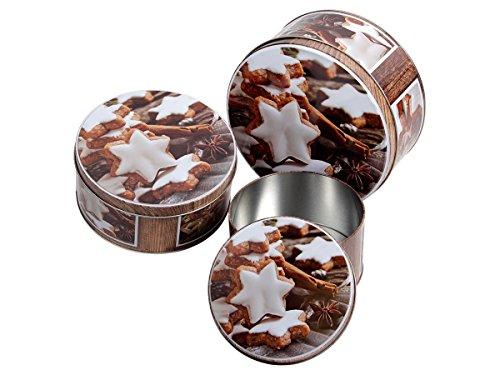 Alsino Ensemble de 3boîtes à biscuits en fer-blanc, boîtes de rangement, boîtes à provisions en métal 946230 Zimtsterne