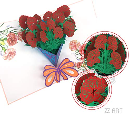 Flower Pop up Cards, Flower Bouquets Greeting Card, Love Pop up 3D Greeting Card, Flower Bouquets Handmade for Father, Mother, Love, Family Affection, Teachers, Friendship, Brother/Sister Birthday