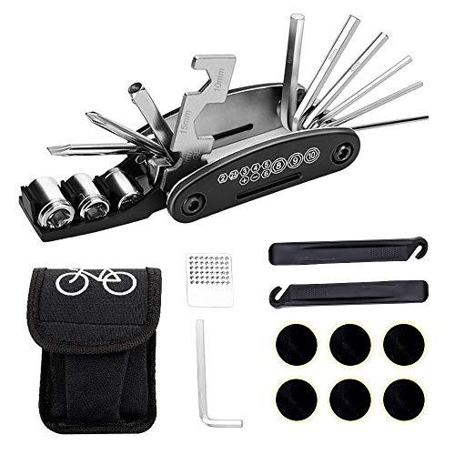 16-in-1 Kit di Attrezzi per Riparazione Bici, Set per Riparazione Biciclette Pneumatici Senza Colla con 2 Leve per Pneumatici, 6 Toppe, Raspa in Metallo e Chiave a Brugola da 4mm