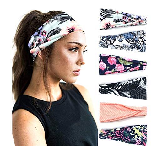 PLOVZ 6 Pack Women's Yoga Running Headbands Sports Workout Hair Bands (Set 014)