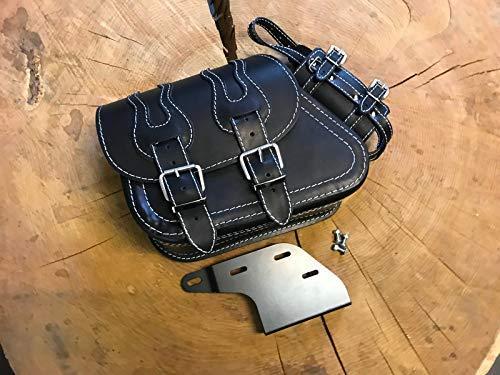 ORLETANOS Dyna Flame Black & White + houder voor schommels compatibel met Swingtas tas zijtas houder bevestiging Harley Davidson hd