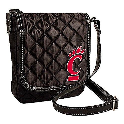 Littlearth Cincinnati Bearcats NCAA Black Quilted Purse Handbag