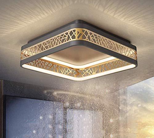 76W LED Deckenleuchte Dimmbar Wohnzimmer Deckenlampe, Rund Schwarz Gold Aushöhlen Design Schlafzimmerlampe, Ring Acryl Schirm Arbeitszimmer Deko Leuchte, Eisen Esszimmer Lampe mit Fernbedienung, L52cm